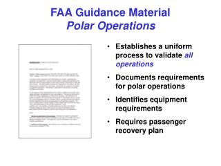 FAA Guidance Material  Polar Operations