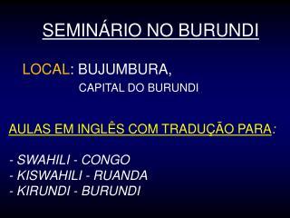 SEMINÁRIO NO BURUNDI