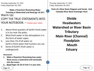 Make a Flowchart Illustrating Water  Traveling in Watershed and Read pgs 16-18 C