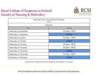 Royal College of Surgeons in Ireland Faculty of Nursing & Midwifery