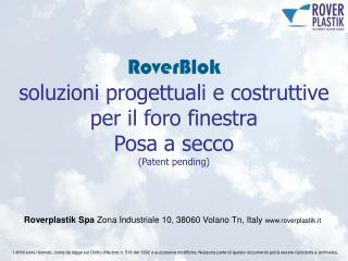 RoverBlok soluzioni progettuali e costruttive per il foro finestra Posa a secco (Patent pending)