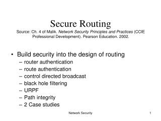 Build security into the design of routing router authentication route authentication
