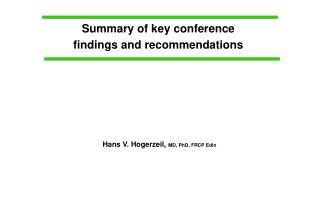 Summary of key conference findings and recommendations