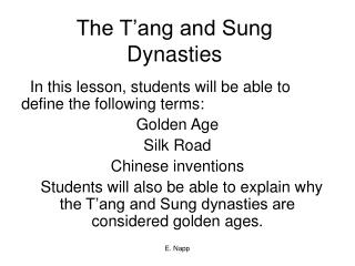 The T'ang and Sung Dynasties