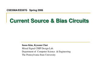 Current Source & Bias Circuits