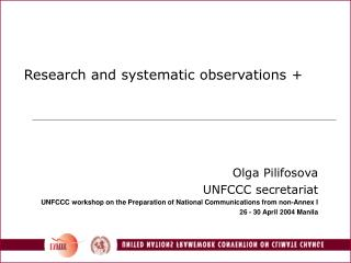 Research and systematic observations +
