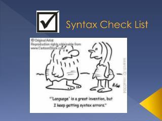 Syntax Check List