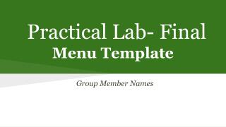 Practical Lab- Final Menu  Template