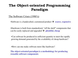 The Object-oriented Programming Paradigm