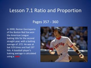 Lesson  7.1 Ratio and Proportion