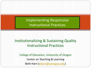 Implementing Responsive Instructional Practices