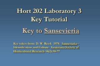 Hort 202 Laboratory 3 Key Tutorial