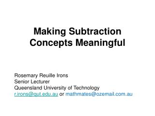 Making Subtraction Concepts Meaningful