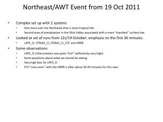 Northeast/AWT  Event from 19 Oct 2011
