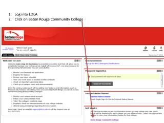 Log into LOLA Click on Baton Rouge Community College