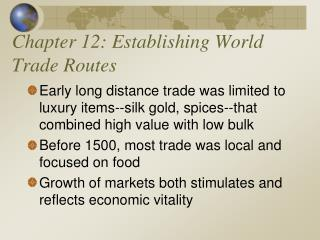 Chapter 12: Establishing World Trade Routes