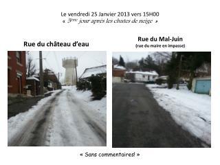Le vendredi 25 Janvier 2013 vers 15H00 �� 5 �me  jour apr�s les chutes de neige ��