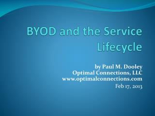 BYOD and the Service Lifecycle