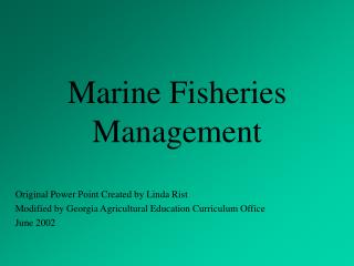 Marine Fisheries Management