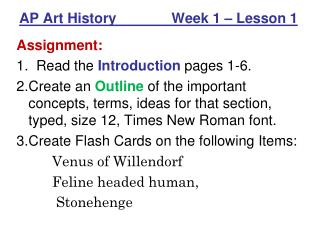 AP Art History              Week 1 – Lesson 1