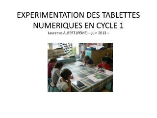 EXPERIMENTATION DES TABLETTES  NUMERIQUES  EN CYCLE 1 Laurence ALBERT (PEMF) – juin 2013 –