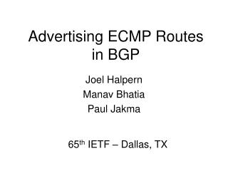 Advertising ECMP Routes in BGP