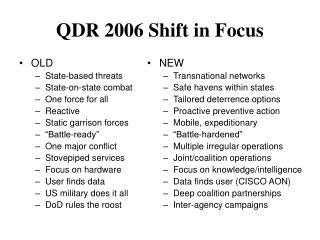QDR 2006 Shift in Focus