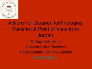 Actions for Cleaner Technologies Transfer: A Point of View from Jordan