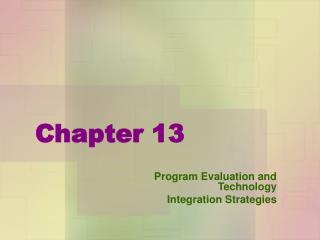 Program Evaluation and Technology Integration Strategies