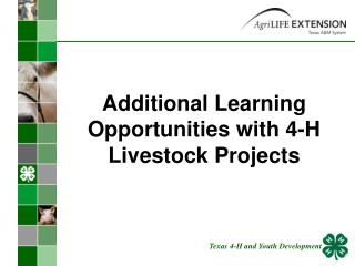 Additional Learning Opportunities with 4-H Livestock Projects
