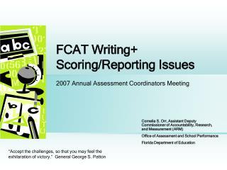 FCAT Writing Scoring