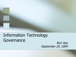 Information Technology Governance