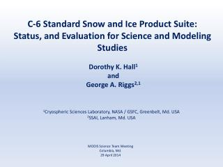 C-6 Standard Snow and Ice Product Suite: Status, and Evaluation for Science and Modeling Studies