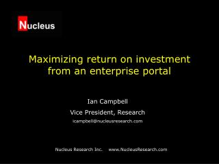 Maximizing return on investment from an enterprise portal