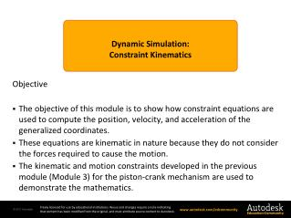 Dynamic  Simulation : Constraint  Kinematics