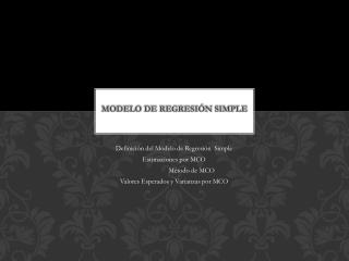 Modelo de Regresi�n Simple