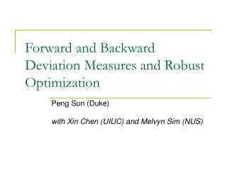 Forward and Backward Deviation Measures and Robust Optimization
