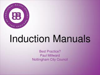 Induction Manuals