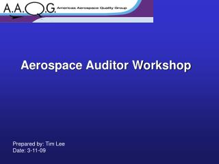 Aerospace Auditor Workshop