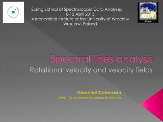 Spectral lines analysis