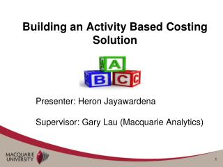Building an Activity Based Costing Solution