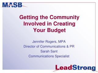 Getting the Community Involved in Creating  Your Budget