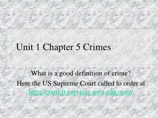 Unit 1 Chapter 5 Crimes
