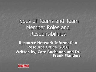 Types of Teams and Team Member Roles and Responsibilities