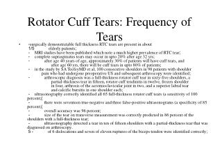 Rotator Cuff Tears: Frequency of Tears