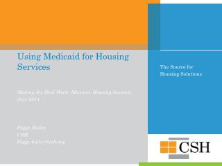 Using Medicaid for Housing Services
