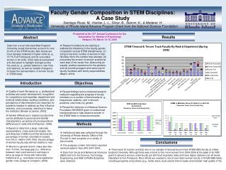 Faculty Gender Composition in STEM Disciplines:  A Case Study