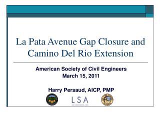La Pata Avenue Gap Closure and Camino Del Rio Extension