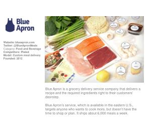 Website: blueapron Twitter: @BlueApronMeals Category :  Food and Beverage Competitors: Plated