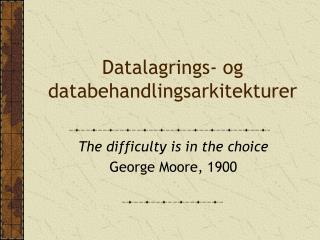 Datalagrings- og databehandlingsarkitekturer